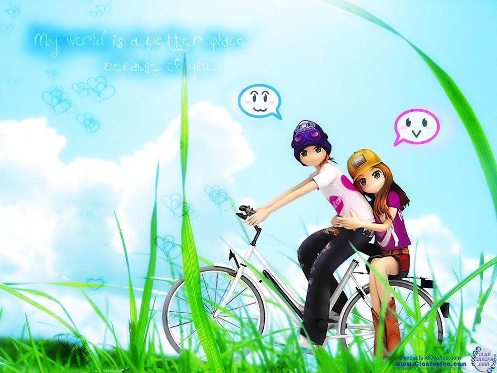 Hình nền tình yêu trên xe đạp