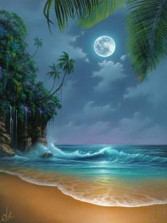 Hình nền biển và ánh trăng tuyệt đẹp