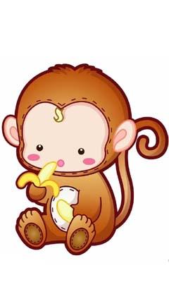Hình nền hoạt hình – Khỉ ăn chuối