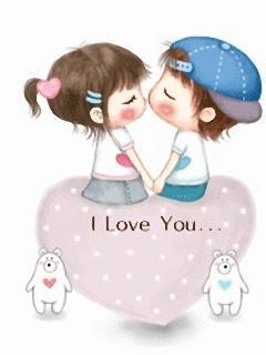 Hình nền hoạt hình I Love You cực kute