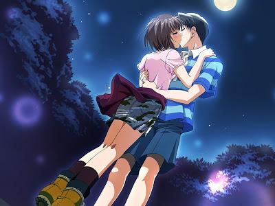 Hình nền tình yêu - Nụ hôn dưới trăng cực lãng mạn