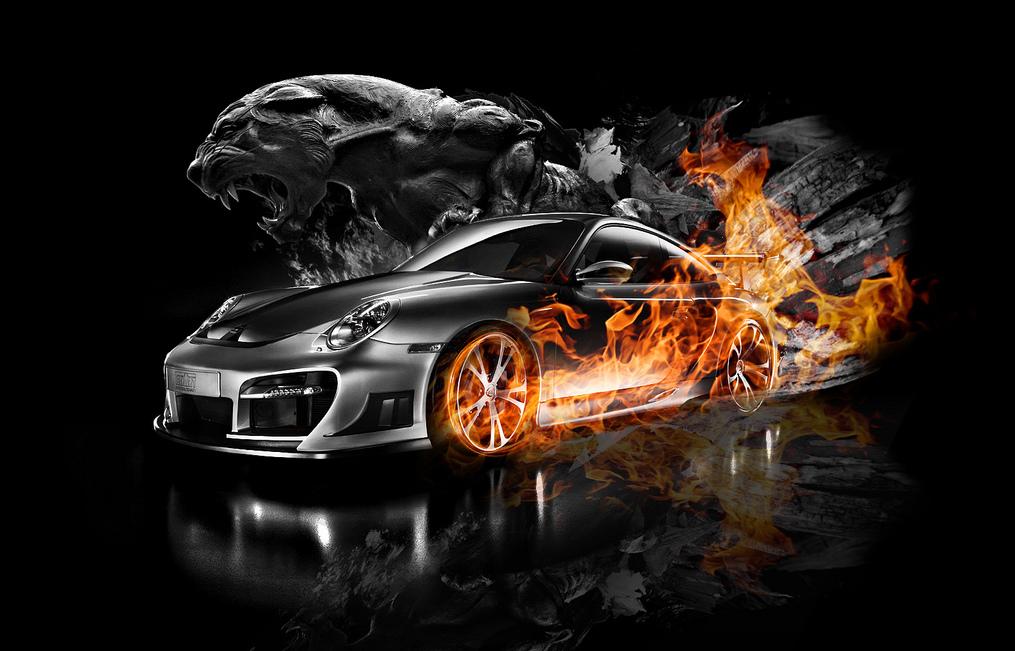 Hình nền 3D – Ô tô bốc cháy