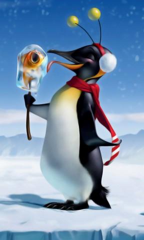 Hình nền hài hước - Chú chim cánh cụt cực dễ thương