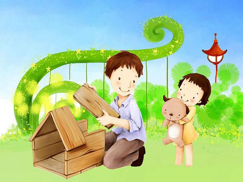 Hình nền hoạt hình - Bố xây nhà cho gấu