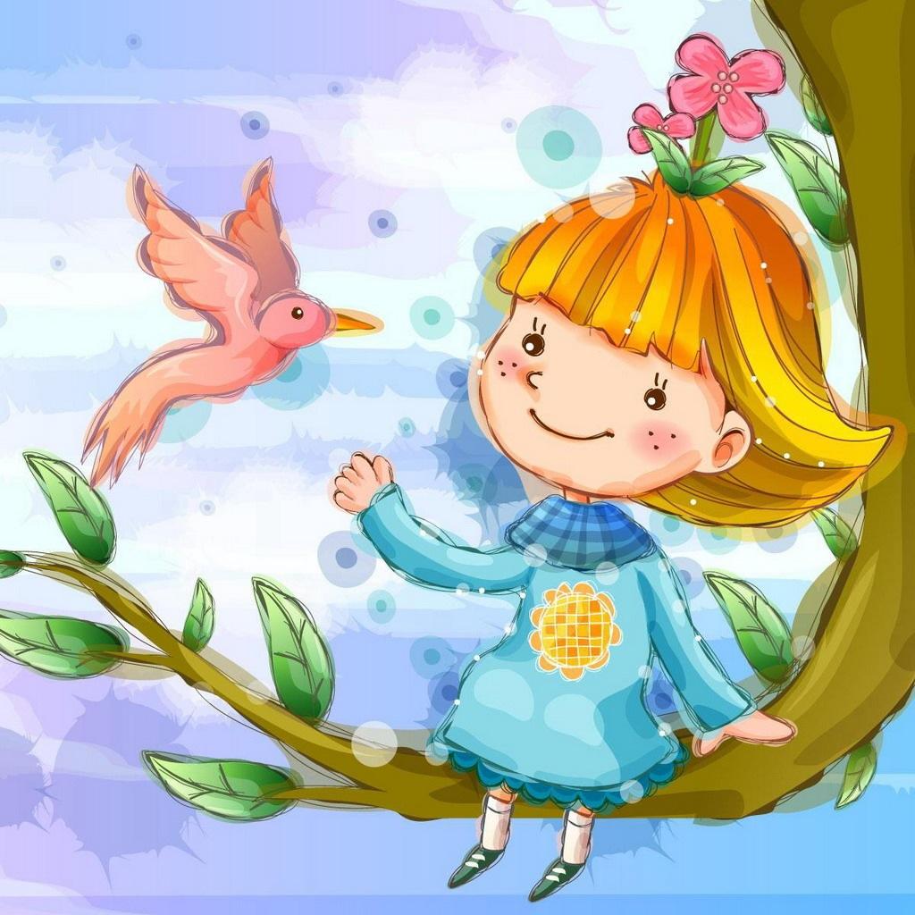 Hình nền hoạt hình - Cô bé và chú chim