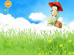 Hình nền mùa hè – em ngồi ngắm hoa