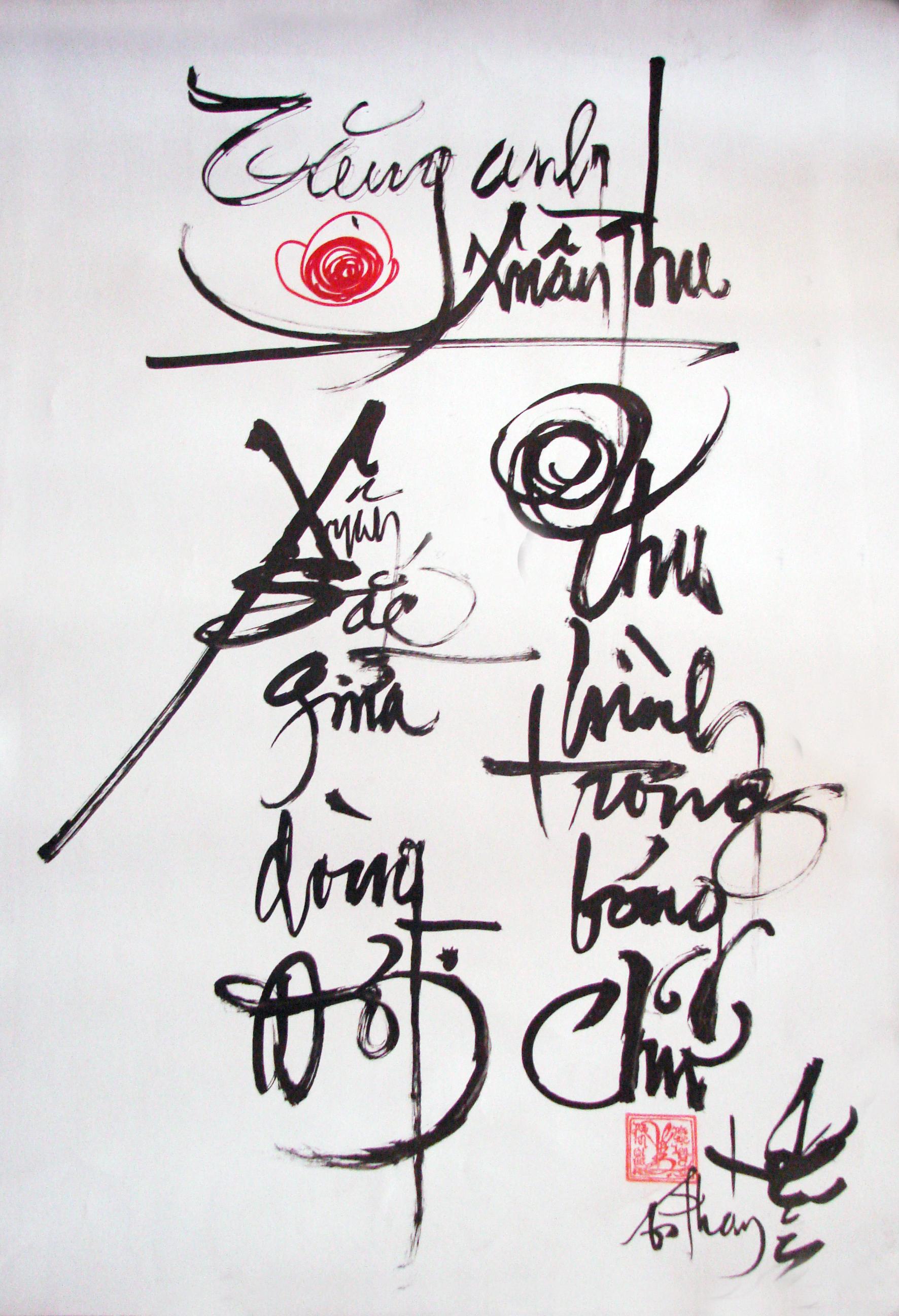 Hình nền thư pháp - thơ tình tặng người yêu
