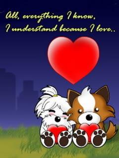 Hình nền tình yêu vô cùng ngộ nghĩnh của cún cưng
