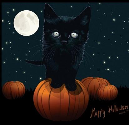 Hình nền halloween - Mèo con đáng yêu nhất