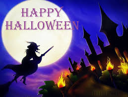 Hình nền halloween – Phù thủy bay trên cái chổi