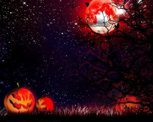 Hình nền halloween rùng rợn với mặt trăng đỏ