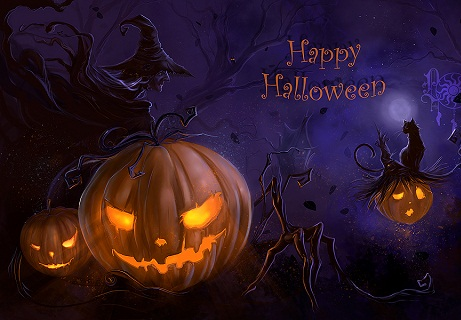 Hình nền halloween - Bí ngô nổi giận