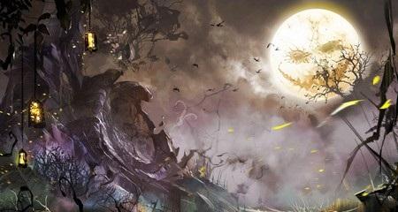 Hình nền halloween - Mặt trăng cực ma quái