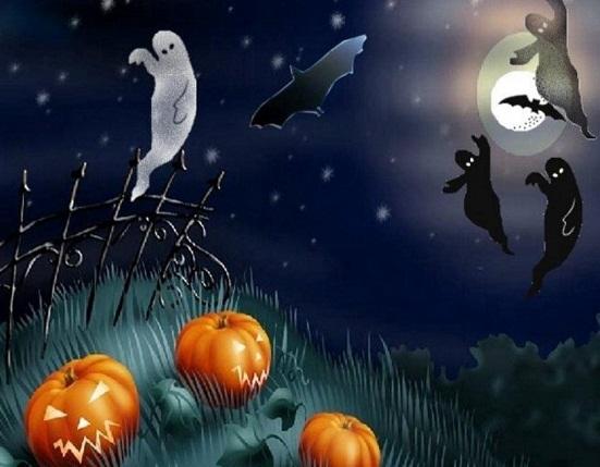 Hình nền halloween - Ma quỷ bay lượn khắp nơi