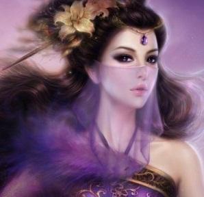 Hình nền girl xinh với sắc tím huyền bí