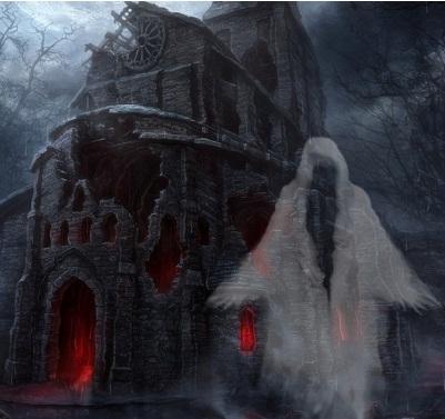 Hình nền halloween - Bóng ma trong lâu đài hoang