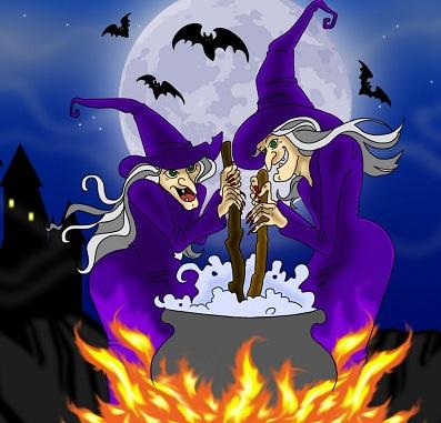 Hình nền halloween - Hai mụ phù thủy
