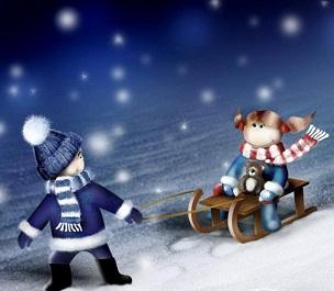 Hình nền giáng sinh - Chơi đùa trên tuyết