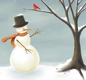 Hình nền giáng sinh - Người tuyết và chú chim nhỏ