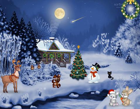 Hình nền noel - Giáng sinh trong rừng