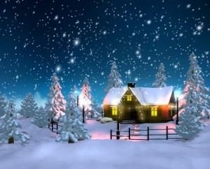 Hình nền giáng sinh - Ngôi nhà giữa rừng thông