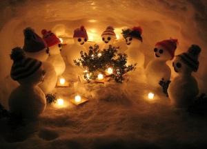 Hình nền giáng sinh trong động người tuyết