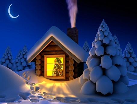 Hình nền noel – Căn nhà nhỏ ấm áp