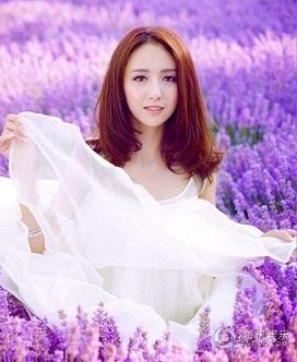 Hình nền girl xinh giữa rừng hoa tím
