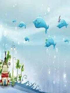 Hình nền hoạt hình - Cá heo siêu cute