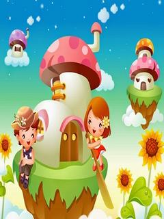 Hình nền hoạt hình - Ngôi nhà nấm
