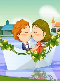 Hình nền tình yêu - Chiếc thuyền hạnh phúc