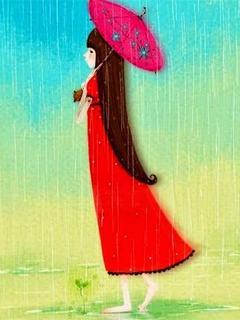 Hình nền hoạt hình – Cô bé đi dạo dưới mưa