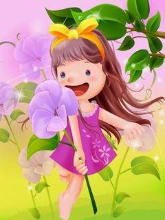 Hình nền hoạt hình - Cô bé trong vườn hoa