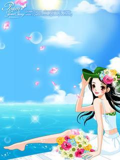 Hình nền hoạt hình girl xinh khoe sắc bên bờ biển