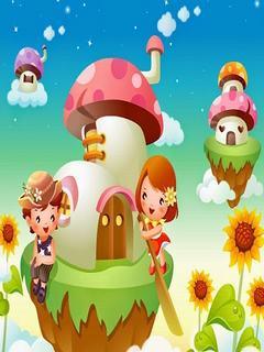 Hình nền hoạt hình - Những ngôi nhà nấm xinh đẹp