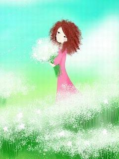 Hình nền hoạt hình - Vườn hoa như mây cực đẹp