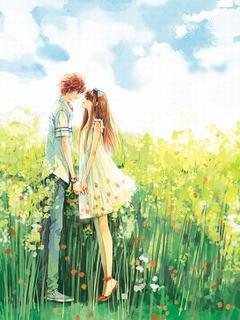 Hình nền tình yêu lãng mạn giữa cánh đồng hoa