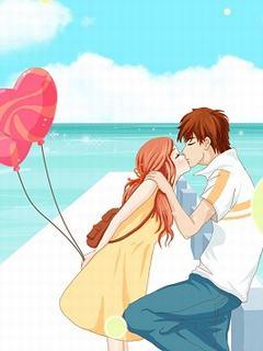 Hình nền tình yêu – Trao nhau nụ hôn trên biển