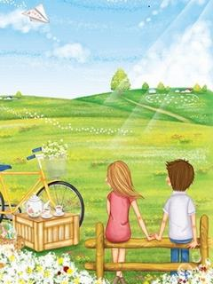 Ngất ngây với hình nền tình yêu trên cánh đồng xanh