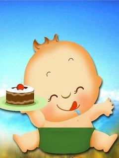 Hình nền hoạt hình - Nhóc tì ham ăn