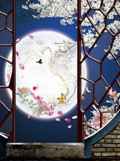 Hình nền trung thu - Ngơ ngẩn ngắm trăng qua khung cửa