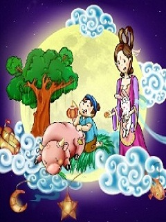 Hình ảnh chị Hằng và chú cuội bên gốc cây đa