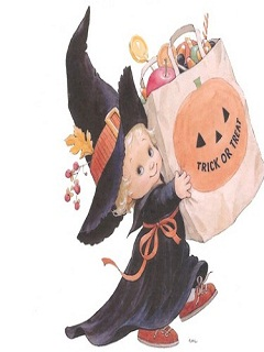 Hình nền Halloween dễ thương – Phù thủy tí hon