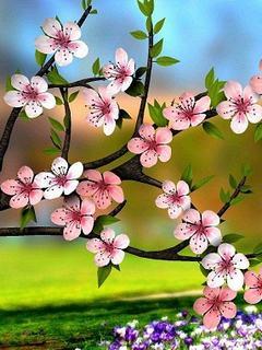 Hình nền 3D - Hoa đào xuân đẹp ngỡ ngàng
