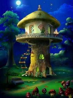 Hình nền hoạt hình - Ngôi nhà trong rừng đẹp huyền bí