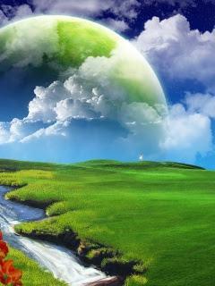 Hình nền 3D - Trời xanh và cỏ xanh