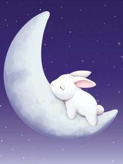 Hình nền điện thoại 320x240 - Thỏ ngủ cung trăng cực dễ thương