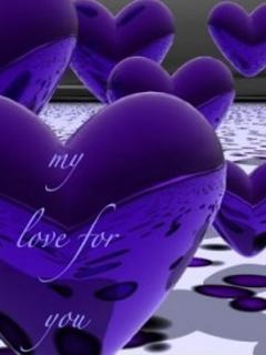 Hình nền tình yêu 3D – Trái tim màu tím