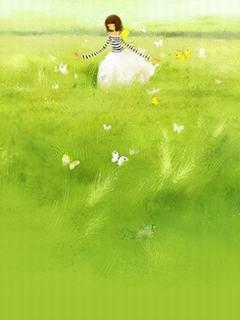 Hình nền hoạt hình dễ thương - Đi giữa đồng xanh