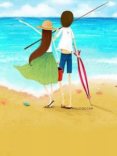 Hình nền tình yêu bên bờ biển cực dễ thương